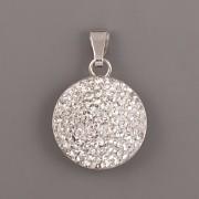 Přívěsek kulatý s kamínky Swarovski Elements - Crystal 16mm - Ag925