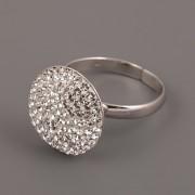 Prsten kulatý s kamínky Swarovski Elements - 16mm- Crystal