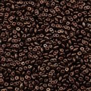 Dvoudírkový rokajl - SuperDuo® - 12,5g - NANO 3925036 - čokoládová