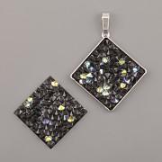 Crystal Rocks Swarovski Elements - ČTVEREC - Crystal AB na černém podkladu - 20mm