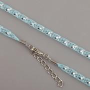 Obruč síťovaná - aquamarine se stříbrným proužkem