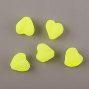 Korálky SRDÍČKO neon žlutá 20ks
