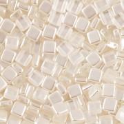 Korálky dvoudírkové TILE - 30ks - 1022501 - bílé