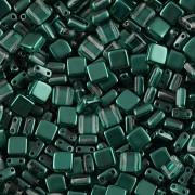 Korálky dvoudírkové TILE - 30ks - 2822554 - lahvově zelená