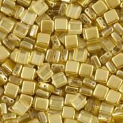 Korálky dvoudírkové TILE - 30ks - 3022576 - žlutozelená