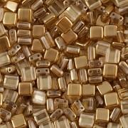 Korálky dvoudírkové TILE - 30ks - 3122506 - okrová