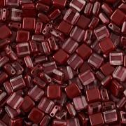 Korálky dvoudírkové TILE - 30ks - 3322591 - vínová
