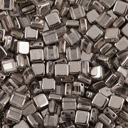 Korálky dvoudírkové TILE - 30ks - 3927401 - POKOV - šedá