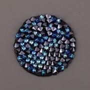 Crystal Rocks Swarovski Elements samolepící - Bermuda Blue na černém podkladu - 15mm