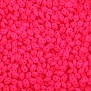 Dvoudírkový rokajl - SuperDuo® - 12,5g - NEON - růžová
