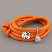 Kožený náramek VERY SWEET - oranžový s uzlem