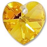 Swarovski Elements přívěsky 6228 – Srdce – Light Topaz AB – 10mm