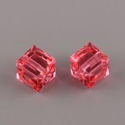Korálky Swarovski Elements – kostička 5601 – Indian Pink - 6mm
