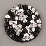 Crystal Rocks Swarovski Elements - Crystal CAL + Jet na černém podkladu - 20mm