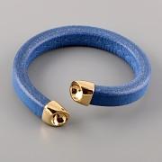 Kožený náramek SNAKE pro Šatony Swarovski Elements 8mm - Sapphire Gold