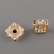 Squaredelka 6mm - Crystal - pozlaceno