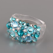 Prsten BUBBLE s kamínky Swarovski Elements - Blue Zircon 53