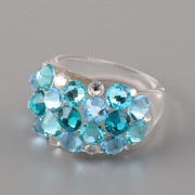 Prsten BUBBLE s kamínky Swarovski Elements - Blue Zircon BIG 53