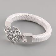 Kožený náramek GLAMOUR se Swarovski Elements kamínky - White/Silver