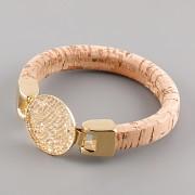 Kožený náramek GLAMOUR se Swarovski Elements kamínky - Gold/Beige