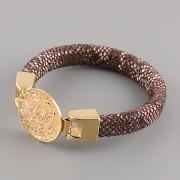 Kožený náramek GLAMOUR se Swarovski Elements kamínky - Gold/Brown