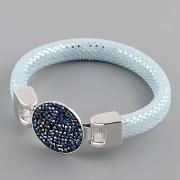 Kožený náramek GLAMOUR se Swarovski Elements kamínky - Silver BB/Aquamarine
