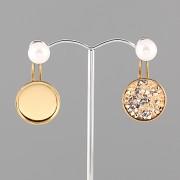 Náušnice ZÁUŠNICE s perlou pro Crystal Rocks Swarovski 15mm - pozlaceno