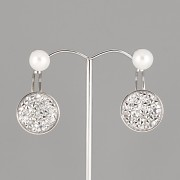 Náušnice ZÁUŠNICE s perlou pro Crystal Rocks Swarovski 15mm - rhodiováno