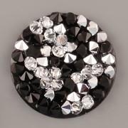 Crystal Rocks Swarovski Elements - Crystal CAL + Jet na černém podkladu - 25mm