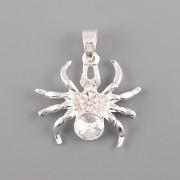Přívěsek pavouk bez šlupny - s bílou Rivoli Swarovski 6mm