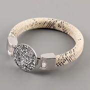 Kožený náramek GLAMOUR se Swarovski Elements kamínky - Silver CAL/Beige