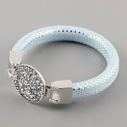 Kožený náramek GLAMOUR se Swarovski Elements kamínky - Silver CAL/Aquamarine