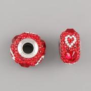 BeCharmed Pavé korálky Swarovski Elements 184372 - červená srdcata