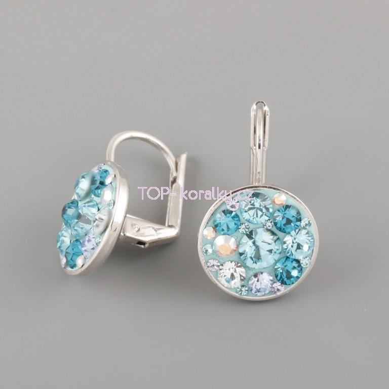 1bc8f3adf Náušnice CRAZY GIRL s kamínky Swarovski® Crystals 12mm - tyrkysové ...
