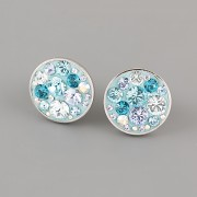Puzety CRAZY GIRL s kamínky Swarovski® Crystals 12mm - tyrkysové