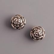 Korálek růžička - 9mm - starostříbro