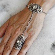 Náramek BOHO STYL s prstenem pro Rivoli Swarovski 10mm - starostříbro