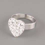 Prsten SRDÍČKO s kamínky Swarovski® Crystals 15mm - Crystal