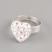 Prsten SRDÍČKO s kamínky Swarovski® Crystals 15mm - Crystal AB