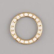 Kroužek Swarovski Elements - White Opal - 20mm - pozlacené