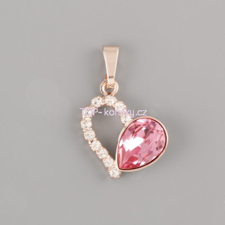 a5036c352 Přívěsek SRDCE FOR YOU pro 4320 Slzičku Swarovski® Crystal 10mm - růžové  zlato
