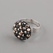 Prsten CRAZY MAMA s kamínky Swarovski Elements 18mm - černozlatý
