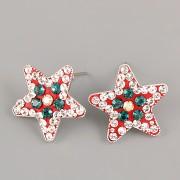 Puzety CRAZY STAR s kamínky Swarovski® Crystals 20mm - vánoční II