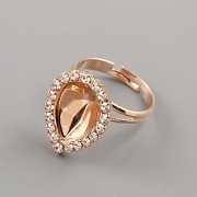 Prsten ZDOBENÁ SLZIČKA 4320 Swarovski Elements 14mm - růžové zlato