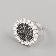 Prsten ZDOBENÝ pro Crystal Rocks 15mm - rhodiováno