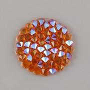 Crystal Rocks Swarovski samolepící - Tangerine SHIMMER na průhledném podkladu - 15mm