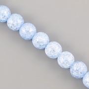 Korálky z minerálů - Křišťál popraskaný bleděmodrý - 8mm